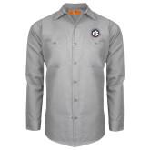 Red Kap Light Grey Long Sleeve Industrial Work Shirt-Primary Mark
