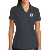 Ladies Nike Golf Dri Fit Charcoal Micro Pique Polo-Primary Mark