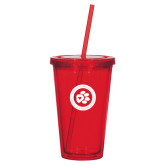 Madison Double Wall Red Tumbler w/Straw 16oz-Secondary Mark