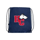 Navy Drawstring Backpack-HC w/Terrier Head