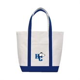 Contender White/Navy Canvas Tote-HC w/Terrier Head
