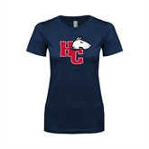 Next Level Ladies SoftStyle Junior Fitted Navy Tee-HC w/Terrier Head