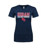 Next Level Ladies SoftStyle Junior Fitted Navy Tee-Hiram College Terriers w/HC