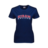 Ladies Navy T Shirt-Arched Hiram College