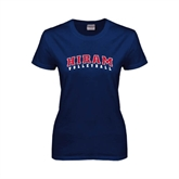 Ladies Navy T Shirt-Volleyball