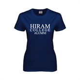 Ladies Navy T Shirt-Institutional Logo Alumni