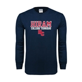 Navy Long Sleeve T Shirt-Hiram College Terriers w/HC