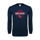 Navy Long Sleeve T Shirt-Logo in Ball