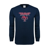 Navy Long Sleeve T Shirt-Hiram College Terriers on Ball