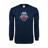 Navy Long Sleeve T Shirt-Hiram College in Ball