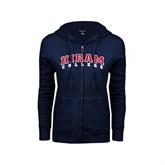 ENZA Ladies Navy Fleece Full Zip Hoodie-Arched Hiram College