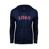 ENZA Ladies Navy Fleece Full Zip Hoodie-Alumni