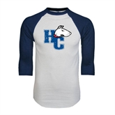 White/Navy Raglan Baseball T-Shirt-HC w/Terrier Head Distressed