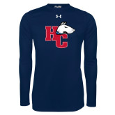 Under Armour Navy Long Sleeve Tech Tee-HC w/Terrier Head