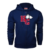 Navy Fleece Full Zip Hoodie-HC w/Terrier Head Distressed