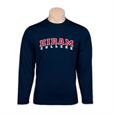 Performance Navy Longsleeve Shirt-Arched Hiram College