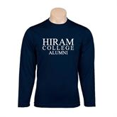 Performance Navy Longsleeve Shirt-Institutional Logo Alumni