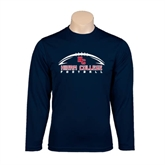 Performance Navy Longsleeve Shirt-Arched Football Design