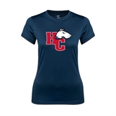 Ladies Syntrel Performance Navy Tee-HC w/Terrier Head