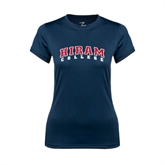 Ladies Syntrel Performance Navy Tee-Arched Hiram College