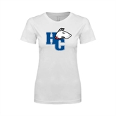 Next Level Ladies SoftStyle Junior Fitted White Tee-HC w/Terrier Head