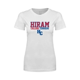 Next Level Ladies SoftStyle Junior Fitted White Tee-Hiram College Terriers w/HC