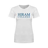 Next Level Ladies SoftStyle Junior Fitted White Tee-Hiram College Institutional