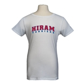 Youth Girls White Fashion Fit T Shirt-Arched Hiram Terriers