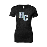 Next Level Ladies Junior Fit Black Burnout Tee-HC Foil