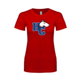 Next Level Ladies SoftStyle Junior Fitted Red Tee-HC w/Terrier Head