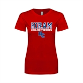 Next Level Ladies SoftStyle Junior Fitted Red Tee-Hiram College Terriers w/HC