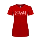 Next Level Ladies SoftStyle Junior Fitted Red Tee-Hiram College Institutional