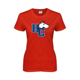 Ladies Red T Shirt-HC w/Terrier Head