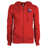 ENZA Ladies Red Fleece Full Zip Hoodie-HC w/Terrier Head