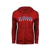 ENZA Ladies Red Fleece Full Zip Hoodie-Arched Hiram College