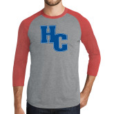 Grey/Red Heather Tri Blend Baseball Raglan-HC