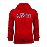 Red Fleece Hoodie-Arched Hiram College