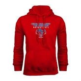 Red Fleece Hoodie-Hiram College Terriers on Ball