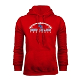 Red Fleece Hoodie-Arched Football Design