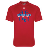 Under Armour Red Tech Tee-Logo in Ball