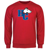 Red Fleece Crew-HC w/Terrier Head