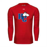 Under Armour Red Long Sleeve Tech Tee-HC w/Terrier Head