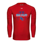 Under Armour Red Long Sleeve Tech Tee-Logo in Ball