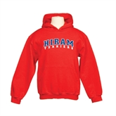 Youth Red Fleece Hoodie-Arched Hiram Terriers