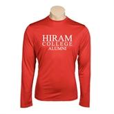 Performance Red Longsleeve Shirt-Institutional Logo Alumni