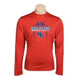 Performance Red Longsleeve Shirt-Logo in Ball