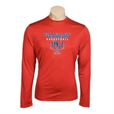 Performance Red Longsleeve Shirt-Hiram College Terriers on Ball