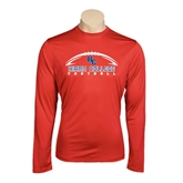 Performance Red Longsleeve Shirt-Arched Football Design