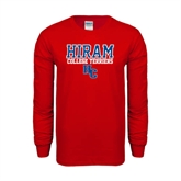 Red Long Sleeve T Shirt-Hiram College Terriers w/HC