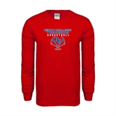 Red Long Sleeve T Shirt-Hiram College Terriers on Ball